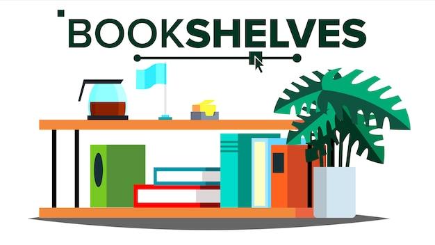 Scaffali con libri e documenti Vettore Premium