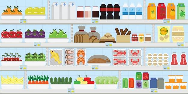 Scaffali del supermercato con il cibo Vettore Premium