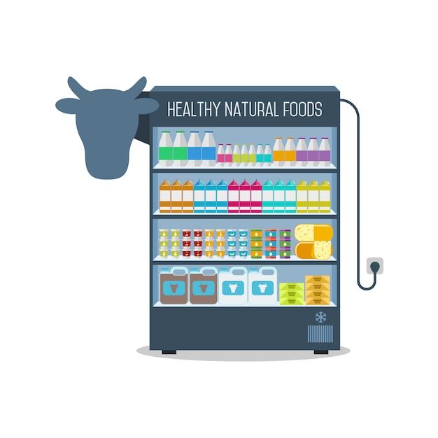 Scaffali del supermercato con prodotti lattiero-caseari. Vettore Premium