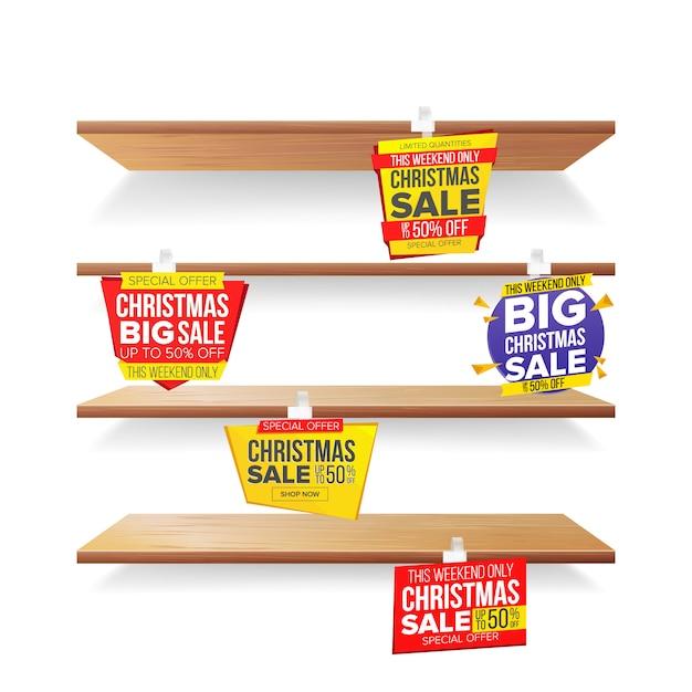 Scaffali del supermercato, feste di natale vendita pubblicità wobblers Vettore Premium