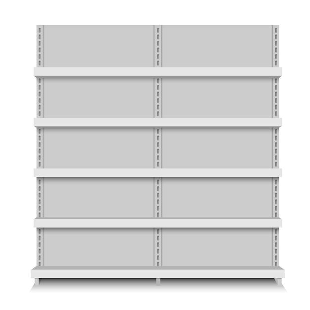 Scaffali di negozio vettoriale vuoto bianco. scaffale al dettaglio. stand del supermercato Vettore Premium