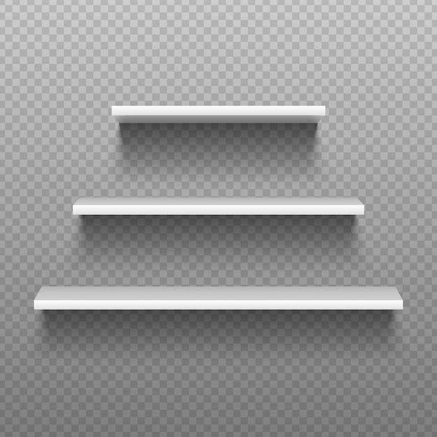 Scaffali vuoti bianchi. librerie vuote per interni di negozi, vetrina di supermercati. illustrazione isolata Vettore Premium