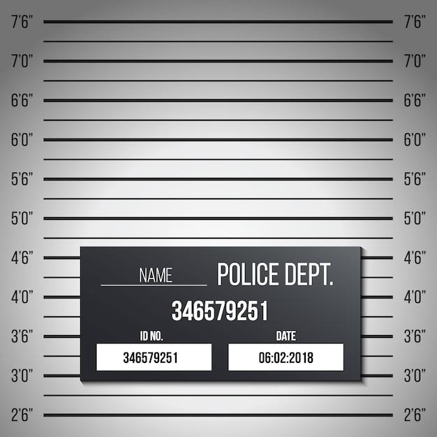Scaletta di polizia, tavolo con foto segnaletiche, silhouette anonima Vettore Premium