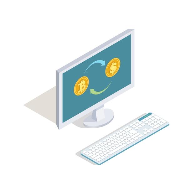 Scambia dollari per il concetto di vettore online bitcoin. finanza isometrica, illustrazione di internet banking Vettore Premium