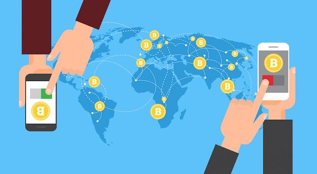 Scambio bitcoin e trasferimento a mano holding smart phone Vettore Premium