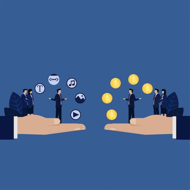 Scambio di contenuti web aziendali con siti web di contenuti di vendita di denaro. Vettore Premium