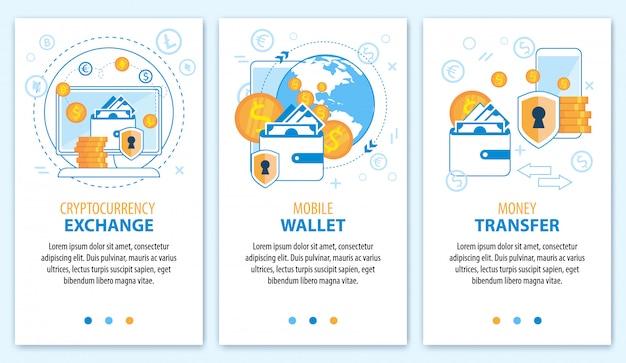 Scambio di criptovaluta. portafoglio mobile. set di banner di trasferimento di denaro. Vettore Premium