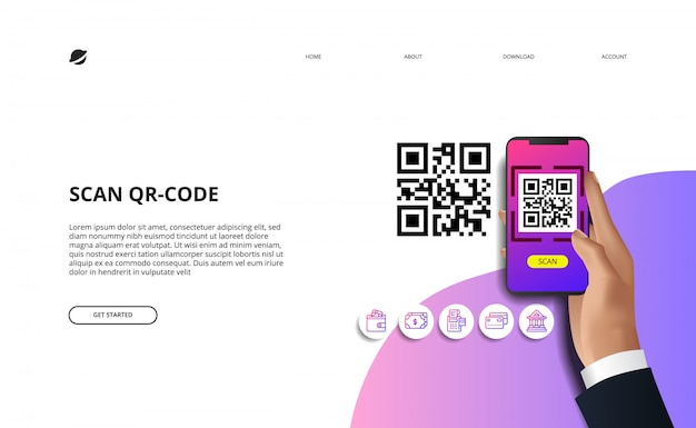 Scansiona il codice qr per la società cashless di pagamento online di finanza con finanza. mano che tiene l'illustrazione del telefono Vettore Premium