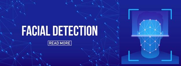 Scansione biometrica di verifica facciale, identificazione. Vettore Premium
