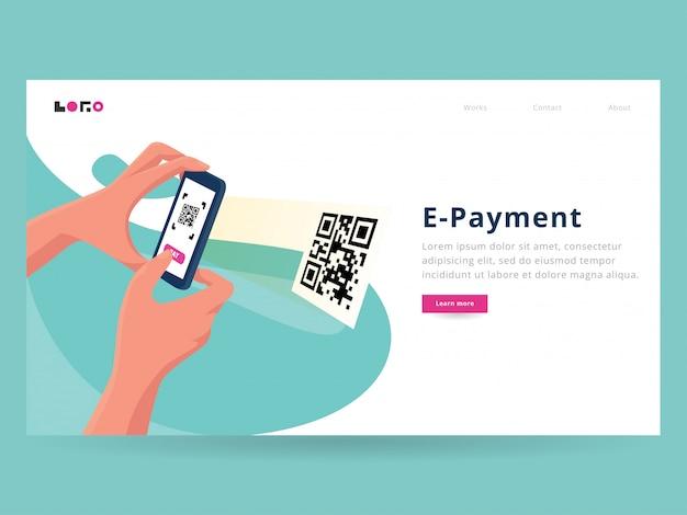 Scansione della pagina di destinazione del pagamento Vettore Premium
