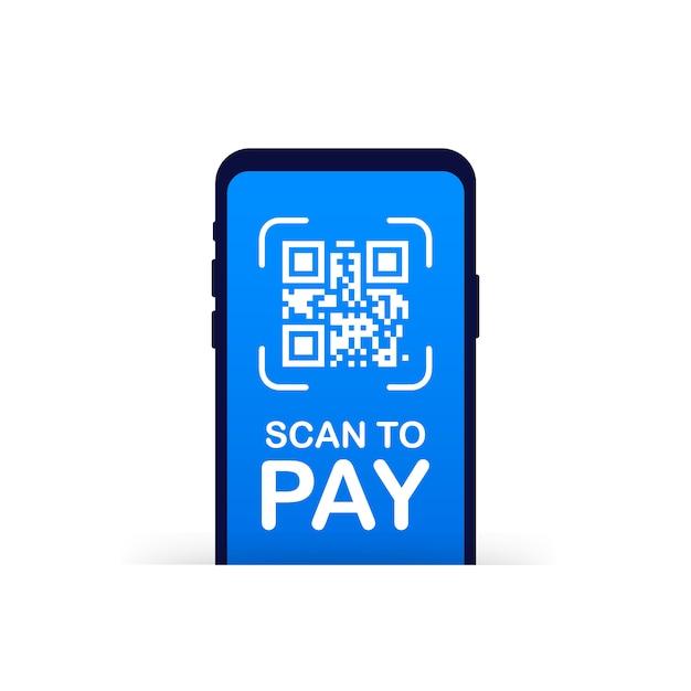 Scansione per pagare. smartphone per scansionare il codice qr su carta per dettagli, tecnologia e affari. illustrazione. Vettore Premium