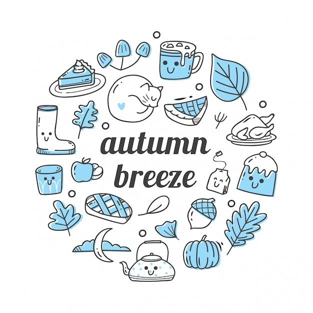 Scarabocchi dell'oggetto relativi di stagione di autunno Vettore Premium