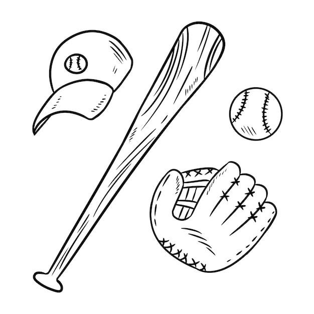 Scarabocchi di baseball, mazza da baseball, cappello e catchig Vettore Premium