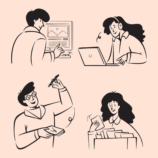 Scarabocchi di uomini d'affari. linee disegnate a mano illustrazioni in stile art design Vettore Premium