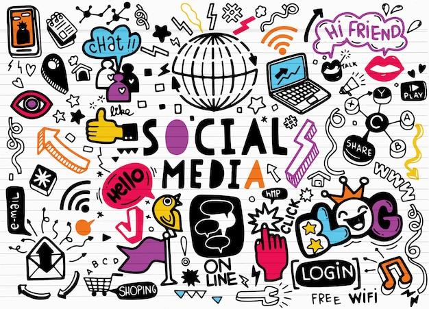 Scarabocchi sociali di vettore di media., linea arte di vettore insieme del fumetto di scarabocchio di oggetti e simboli sul tema sociale di media Vettore Premium