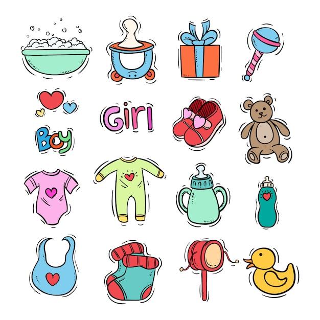 Scarabocchii la raccolta delle icone dei bambini con colore Vettore Premium