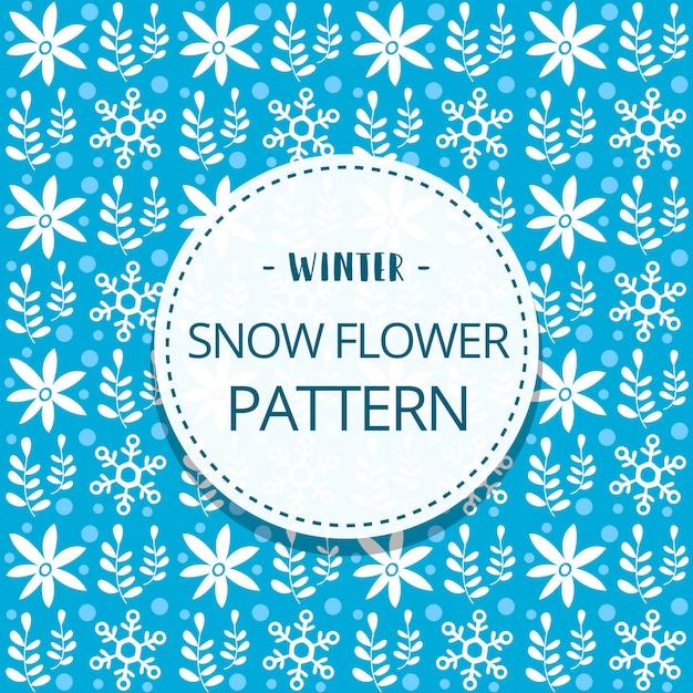 Scarabocchio carino fiocco di neve fiore inverno modello senza soluzione di continuità Vettore Premium