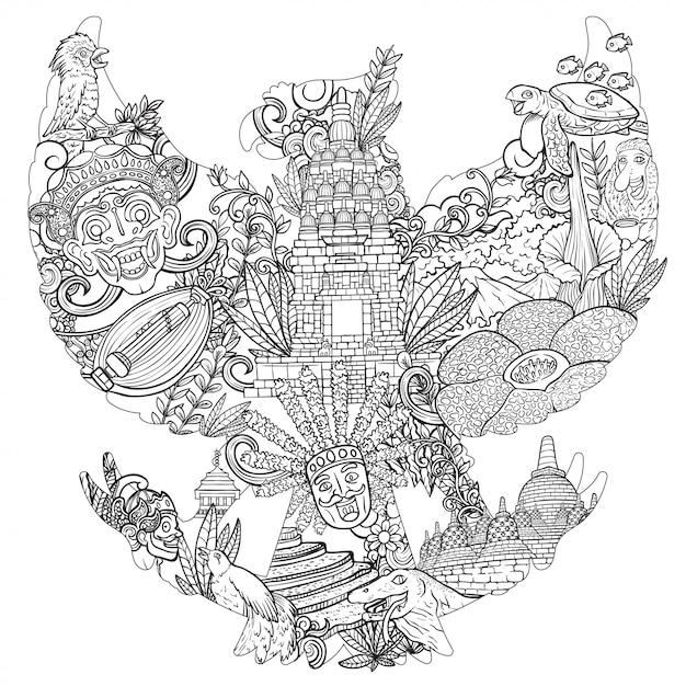 Scarabocchio dell'illustrazione dell'indonesia con la siluetta di garuda pancasila Vettore Premium