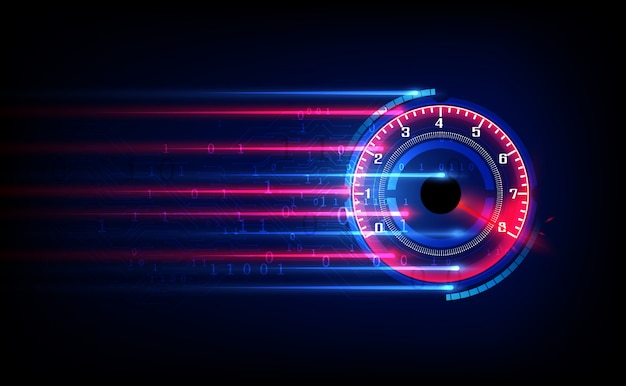 Scarica barra di avanzamento o indicatore circolare della velocità del web. Vettore Premium
