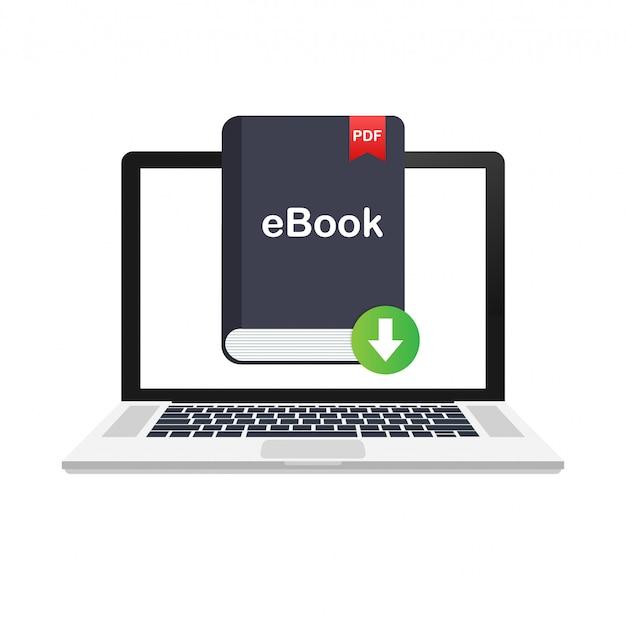 Scarica il libro. e-book marketing, content marketing, ebook download su laptop. illustrazione. Vettore Premium