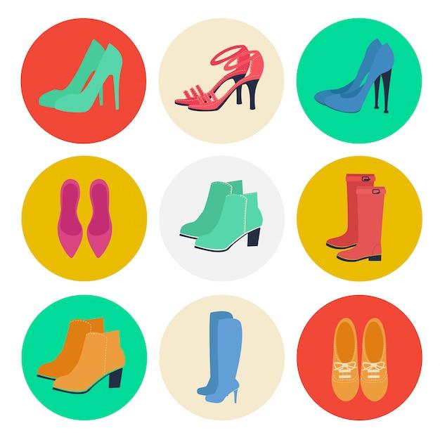 Scarpe da donna. moda femminile. scarpe stagionali. set di icone. stivali, louboutin, scarpe. illustrazione vettoriale stile piatto Vettore Premium