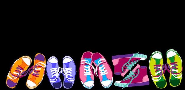 Scarpe da ginnastica colorate formazione scarpe sportive impostate Vettore Premium