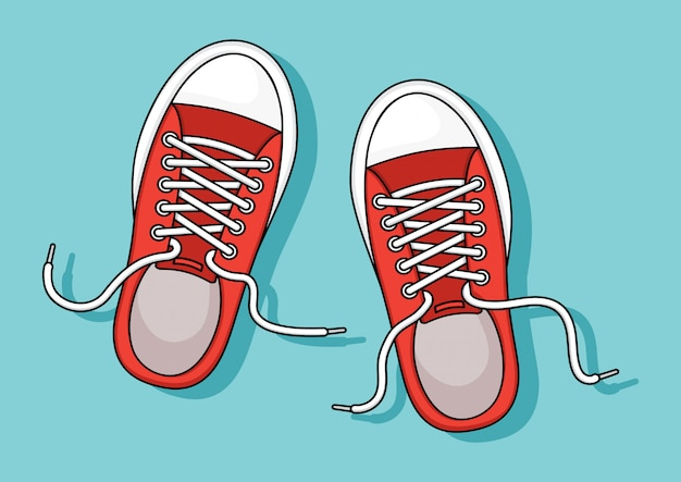 Scarpe da tennis rosse su sfondo blu. illustrazione Vettore Premium