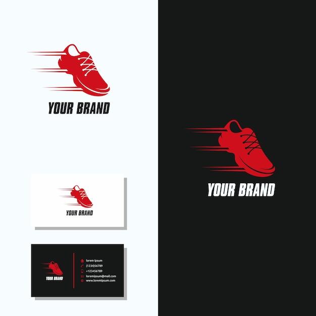 Scarpe sport logo con biglietto da visita logo design Vettore Premium