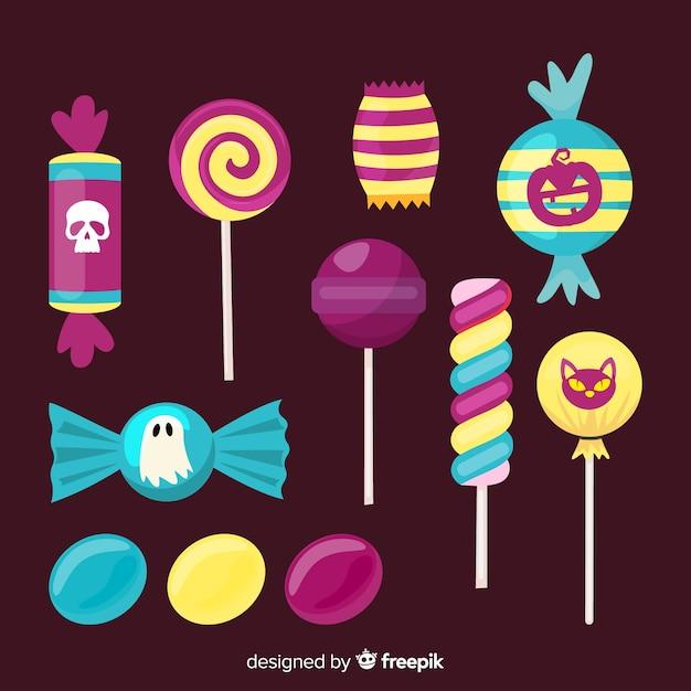 Scary assortimento di caramelle per halloween Vettore gratuito