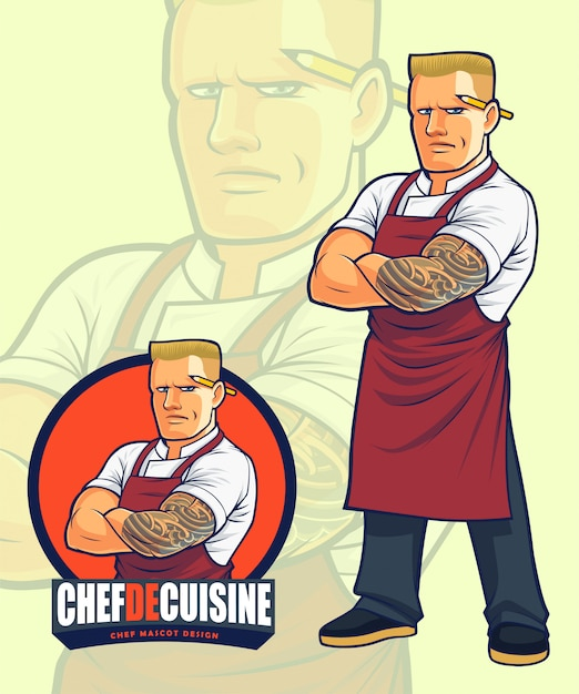 Scary chef mascotte design per illustrazione o logo design Vettore Premium
