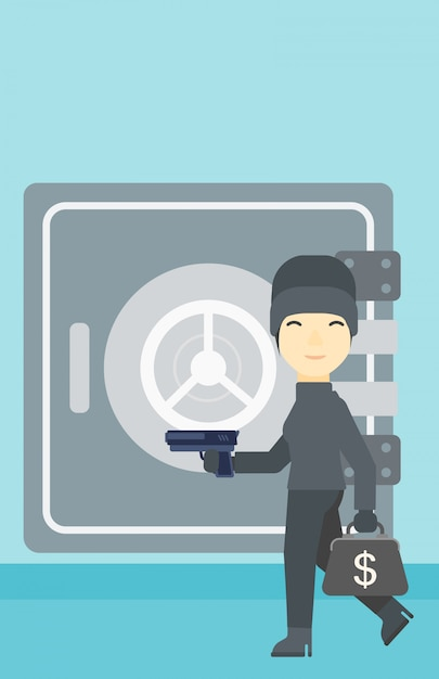 Scassinatore con la pistola vicino all'illustrazione di vettore sicura. Vettore Premium
