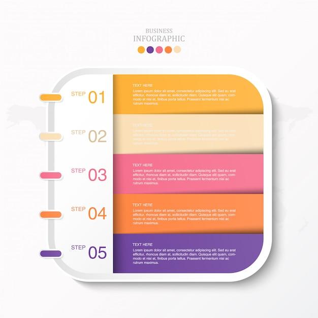 Scatola colorata per testo infografica e icone Vettore Premium