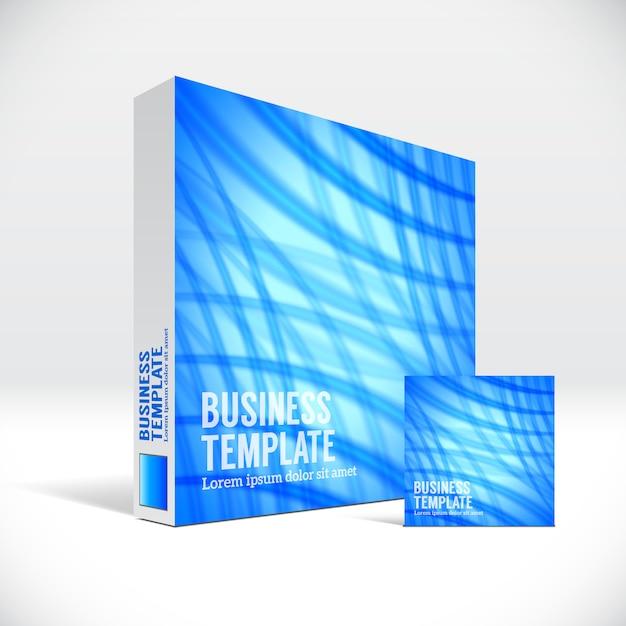 Scatola corporativa 3d che imballa con la copertura astratta delle linee blu Vettore Premium