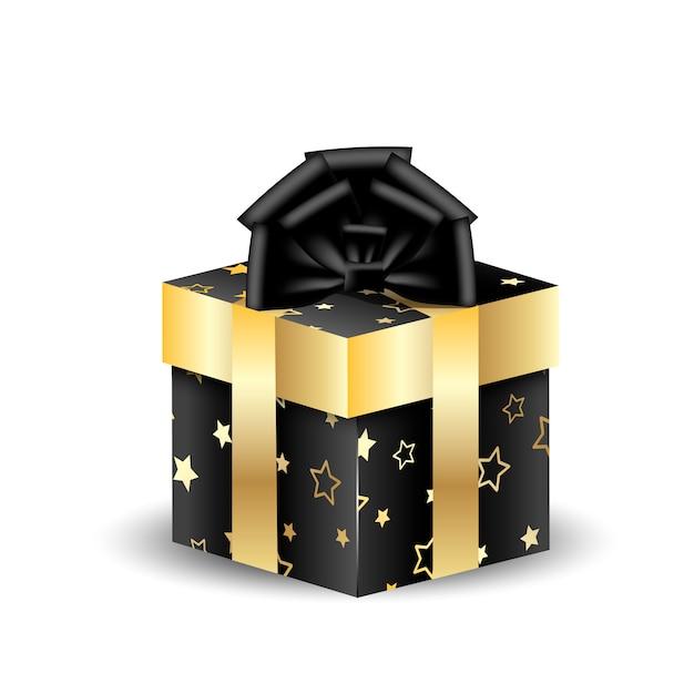 Scatola da imballaggio quadrata 3d nera con oro Vettore Premium