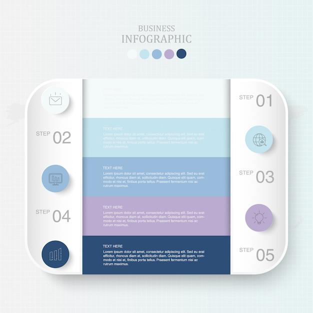 Scatola dei colori blu per testo infographics e icone Vettore Premium