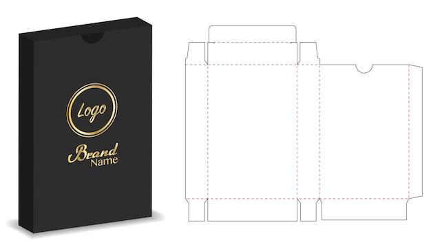 Scatola del pacchetto fustellata con 3d mock up Vettore Premium
