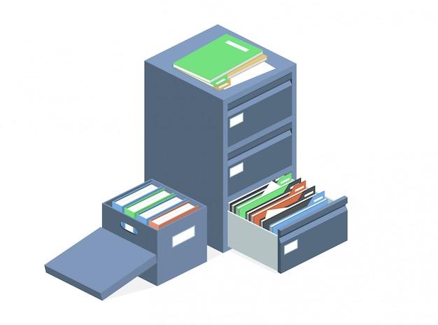 Scatola di archiviazione degli archivi dei file cabinet dei documenti Vettore gratuito
