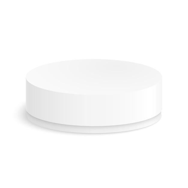 Scatola di carta rotonda per il vostro disegno su uno sfondo bianco. Vettore Premium