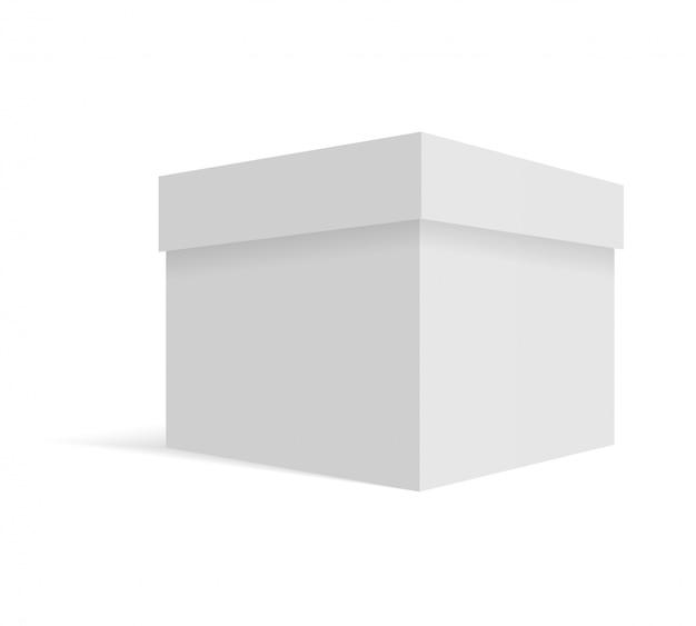 Scatola di cartone bianca vuota Vettore Premium