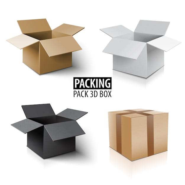 Scatola di cartone confezione 3d. set di consegna di diversi pacchetti di colore. Vettore Premium