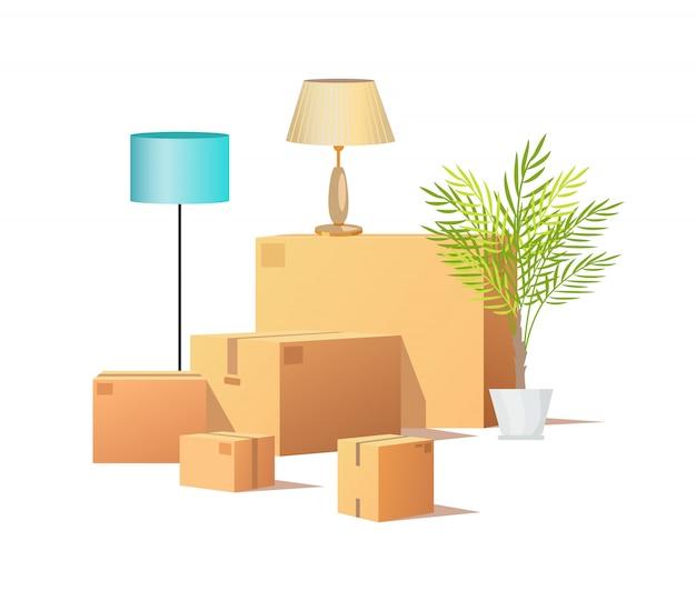 Scatola di cartone da carico, consegna di pacchi Vettore Premium