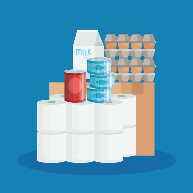 Scatola di cartone e generi alimentari Vettore Premium