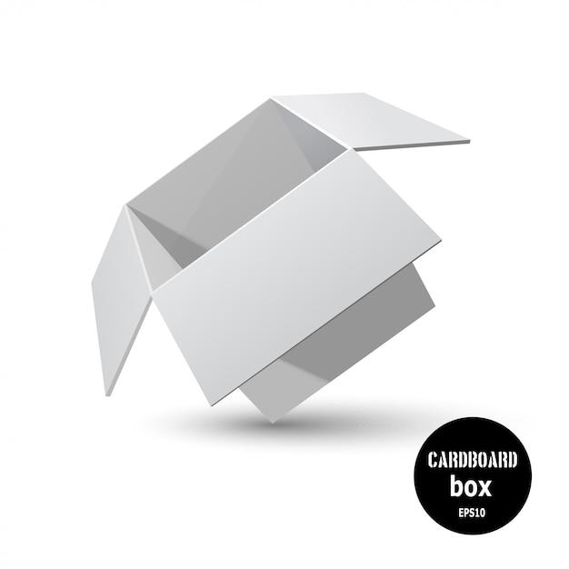 Scatola di cartone grigia inclinata con un'ombra su uno sfondo bianco. Vettore Premium