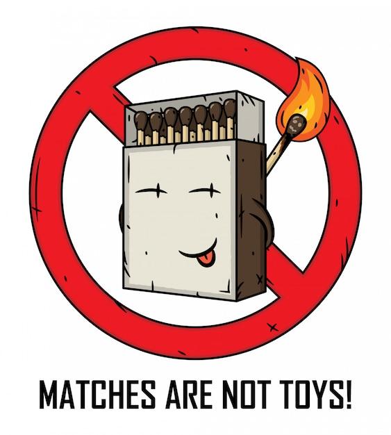 Scatola di fiammiferi del fumetto. le partite non sono giocattoli. Vettore Premium