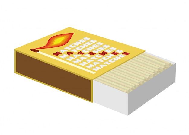 Scatola di fiammiferi, scatola di fiammiferi con bastoncini di legno. Vettore Premium
