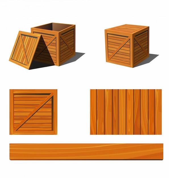Scatola di legno fotorealistica e trame. illustrazione. Vettore Premium