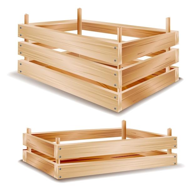 Scatola di legno realistica Vettore Premium
