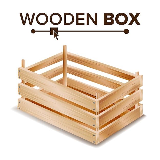 Scatola di legno Vettore Premium