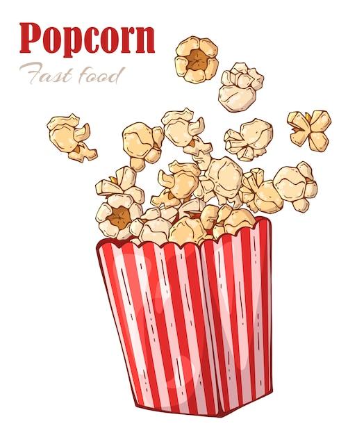 Scatola di popcorn. Vettore Premium