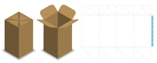 Scatola dieline per mockup pacchetto bottiglia Vettore Premium